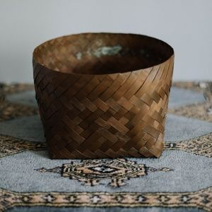 Antique Woven Solid Copper Basket
